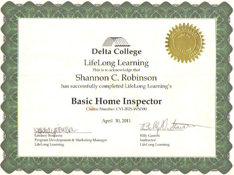 certification » home inspection company standish, michigan arenac county